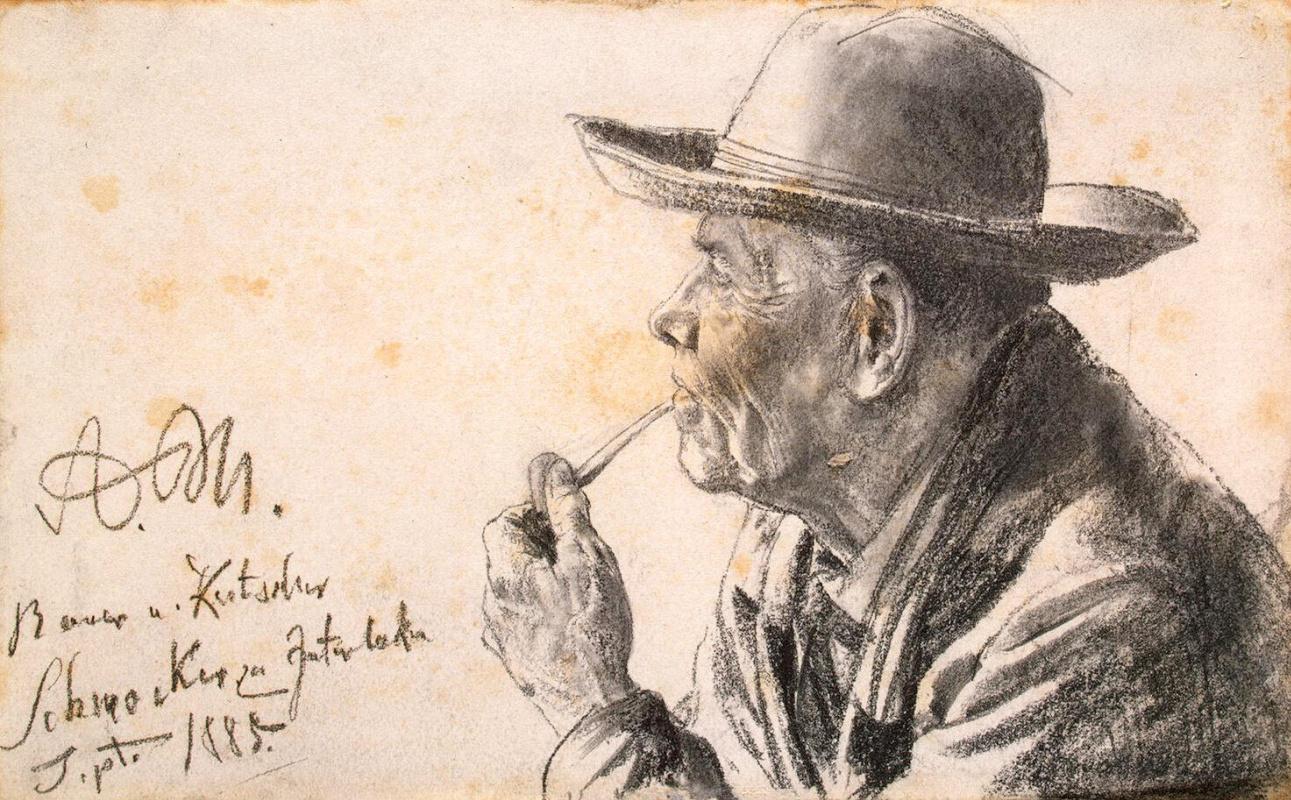 Адольф фон Менцель. Этюд пожилого мужчины в шляпе и с трубкой