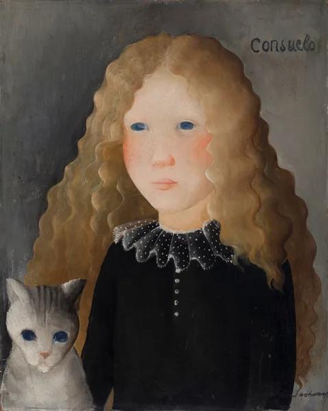 Olga Nikolaevna Sakharova. Girl and cat