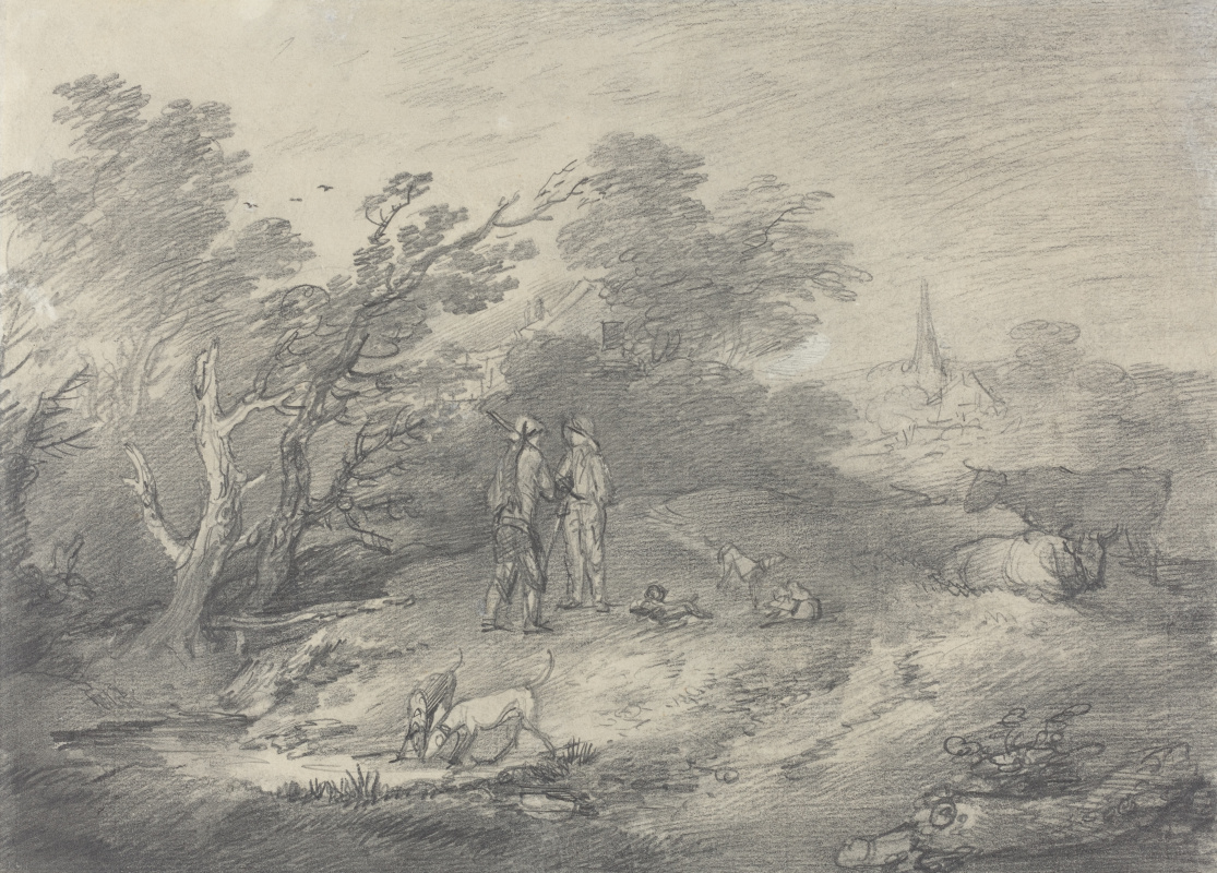 Thomas Gainsborough. The landscape around the village with rabbit catchers and dogs