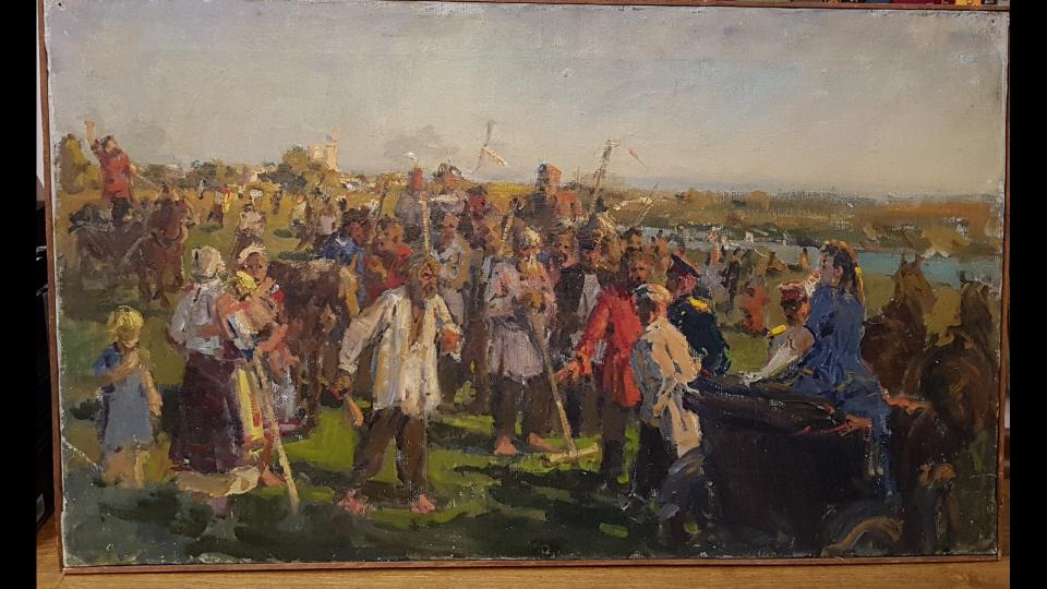 "Vladimir Petrovich Lyubimov and Grigory Dmitrievich Abramov. ""River"" The Rise in Kaluga 1905g"