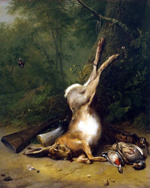 Eugene Joseph Kukkuk Barend Cornelis Verbukkhoven. Still life with a hare
