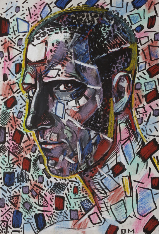 "Олег Мингалев. By Oleg Mingalev ""Selfportrait, 1998"", ink and pastel on paper"