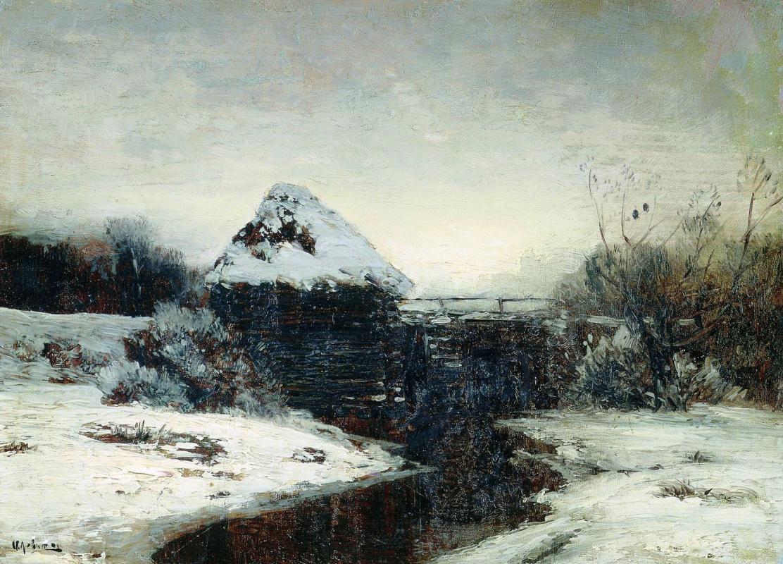 Исаак Ильич Левитан. Зимний пейзаж с мельницей