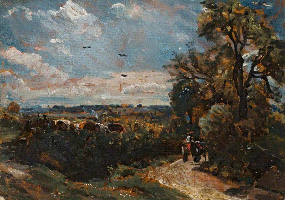John Constable. The bend in the road, Flatford
