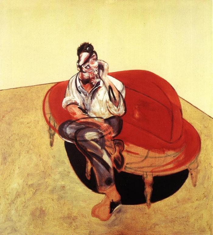 Фрэнсис Бэкон. Портрет Люсьена Фрейда на оранжевом диване