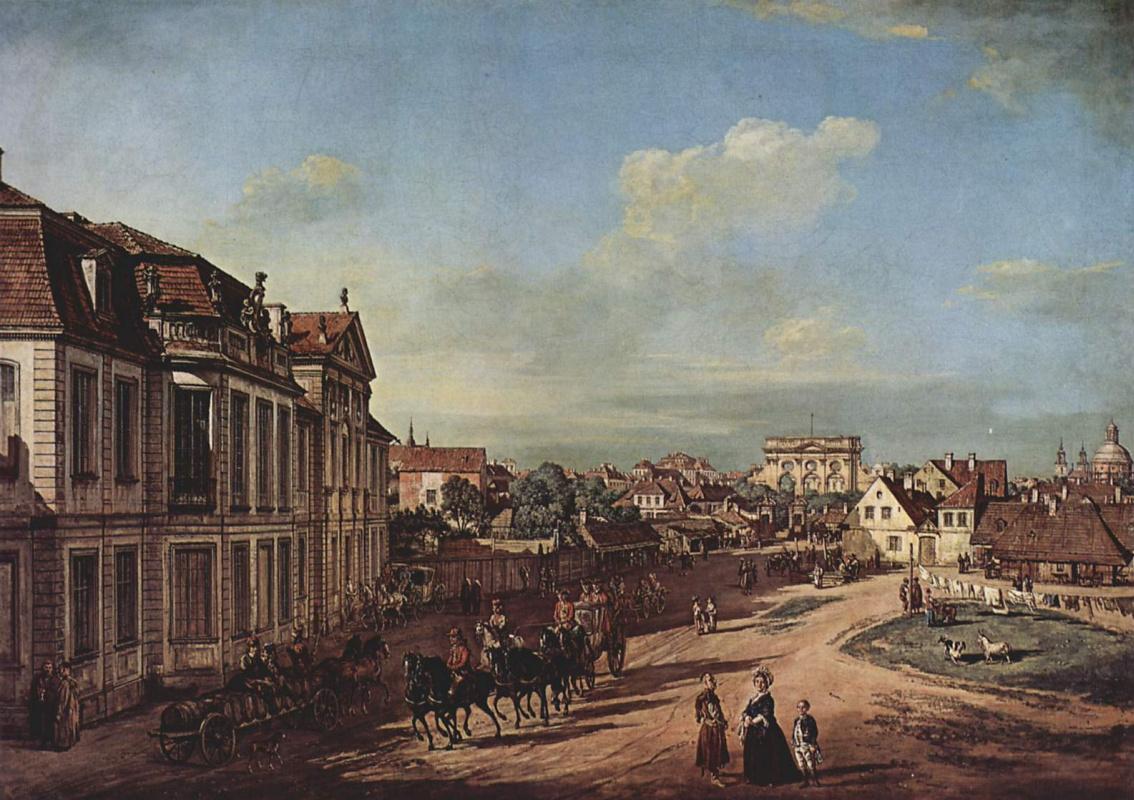 Джованни Антонио Каналь (Каналетто). Варшава: дворец Любоморски и подъездная площадь, вид с запада
