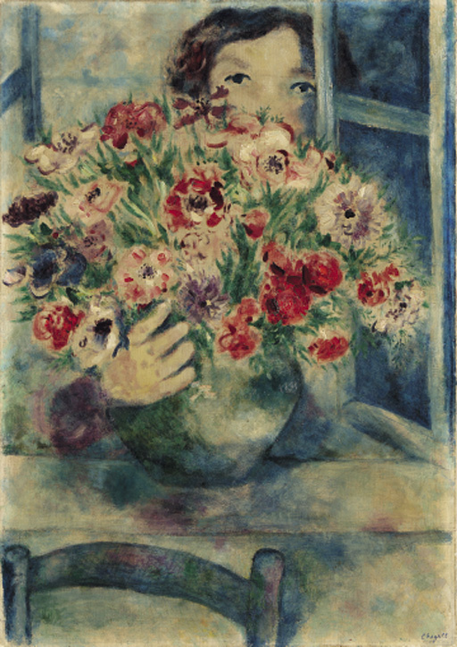 Marc Chagall. Bella with bouquet of anemones