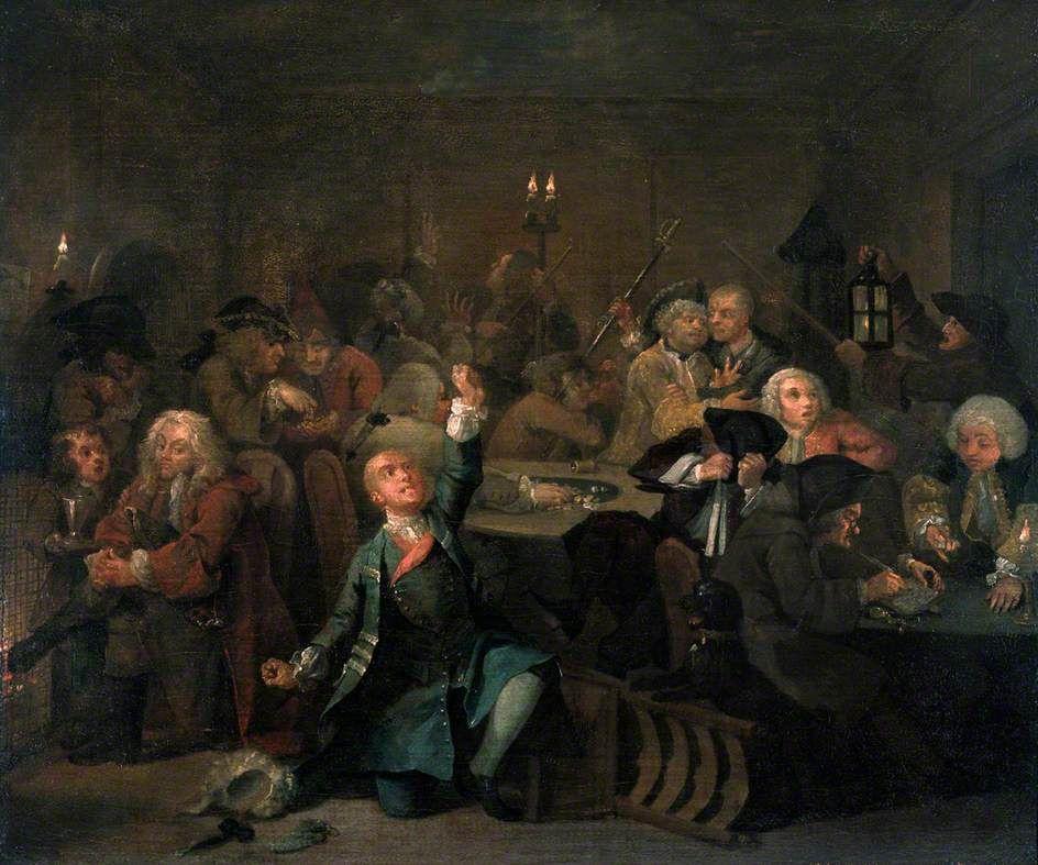 William Hogarth. Mota's career. Gambling house