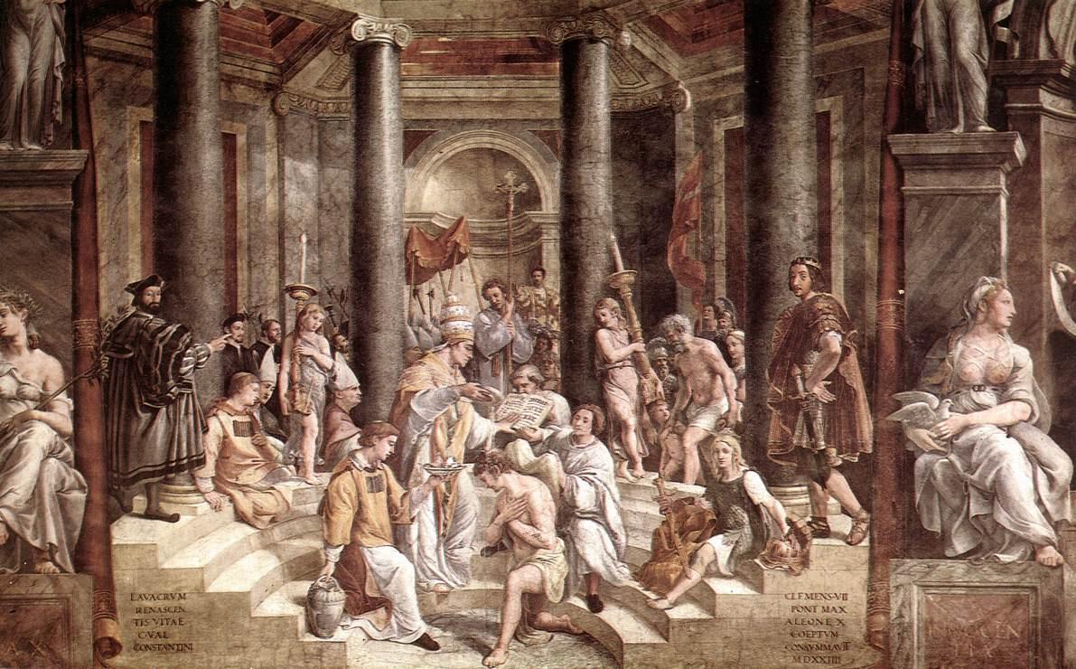 Рафаэль Санти. Крещение Константина. Фреска зала Константина дворца понтифика в Ватикане