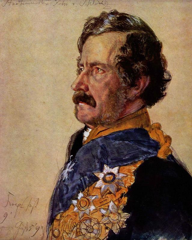 Адольф фон Менцель. Министр барон фон Шлайниц