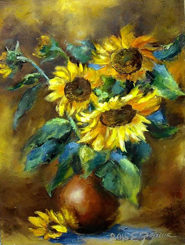 Elena Nikolaevna Zorina. Sunflowers in a vase.