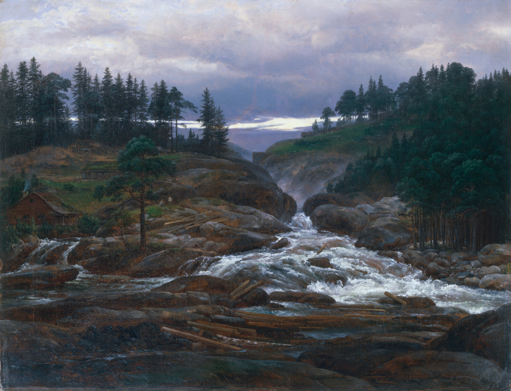 Johan Christian Klausen Dahl. Водопад в Лаброфоссе