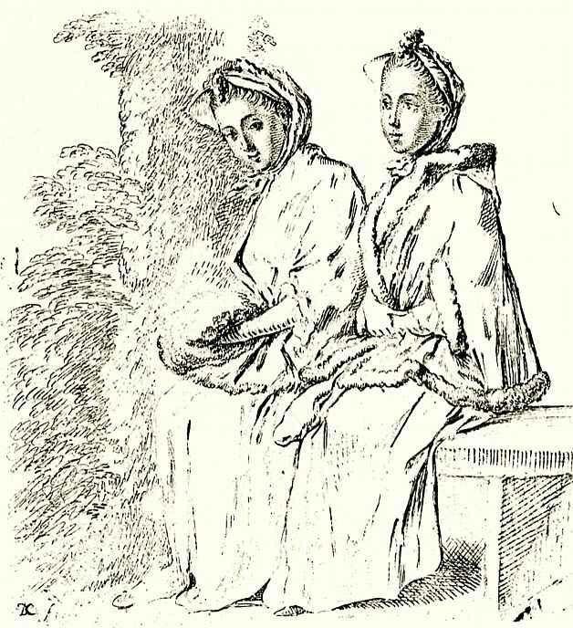 Даниэль  Николай Ходовецкий. Две женщины под деревом