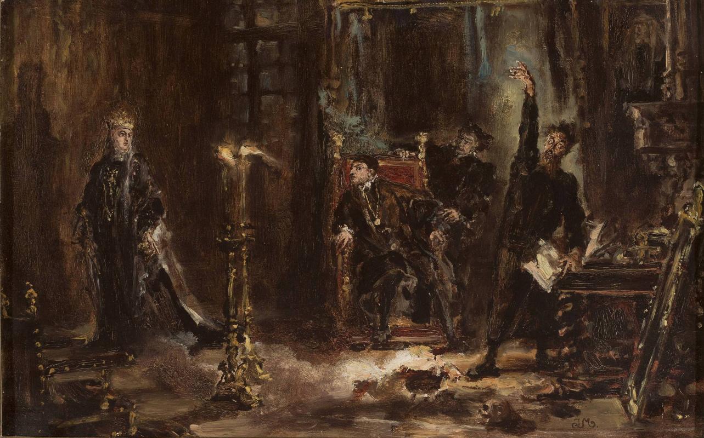 Ян Матейко. Твардовски вызывает тень Барбары перед Зигмунтом Августом. Эскиз