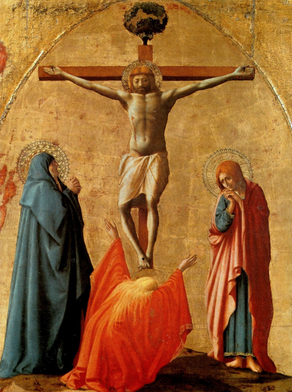 Tommaso Masaccio. Crucifixion of Christ. Polyptych panel for Church of Santa Maria del Carmine in Pisa