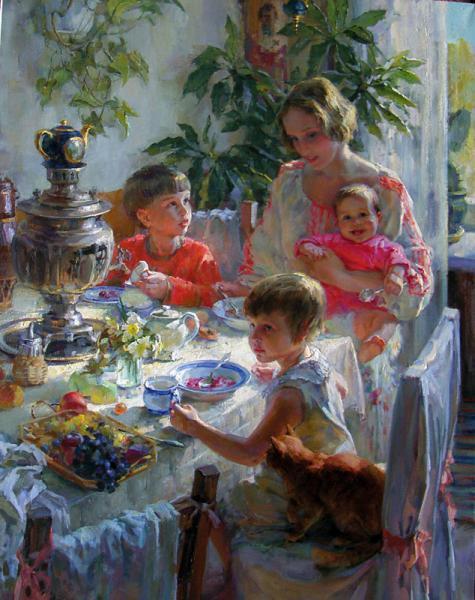 Polina Borisovna Luchanova. Self-portrait with children (first version) 2009