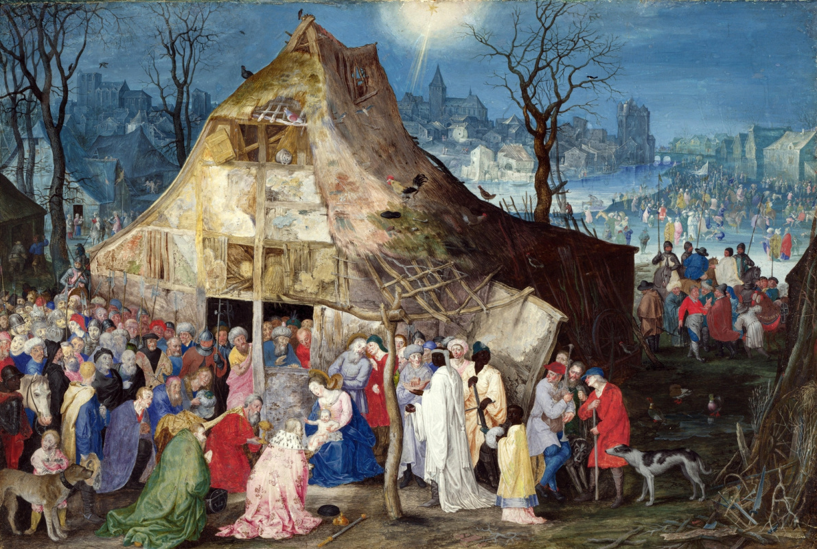 Jan Bruegel The Elder. Adoration of the Magi. 1598 parchment. body color.