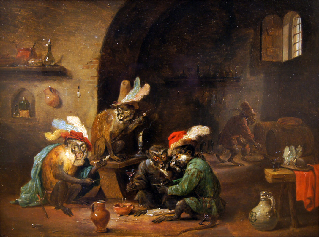 David Teniers the Younger. Smoking monkeys in the kitchen
