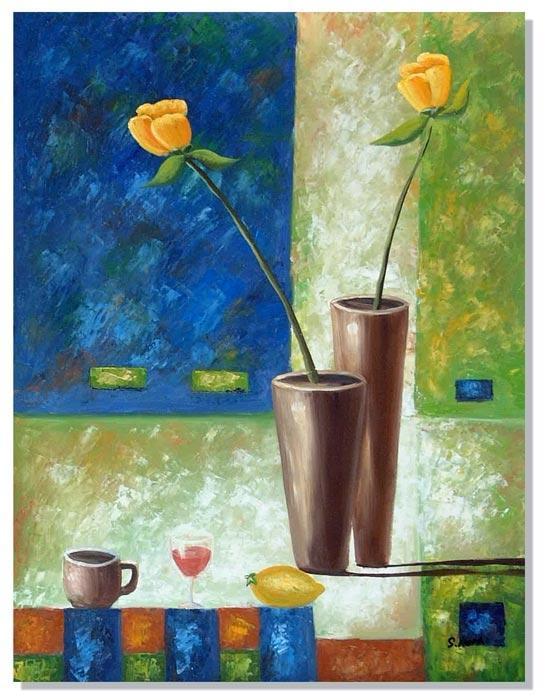 Стиль ар-деко Принт. Цветы в коричневой вазе