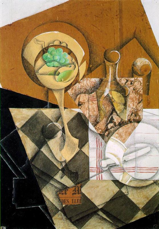 Хуан Грис. Фруктовое блюдо и графин