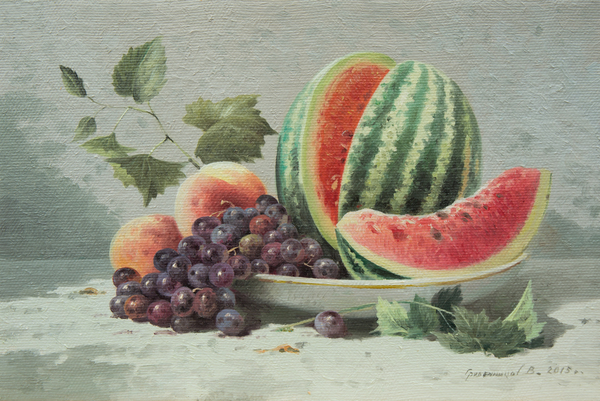 Vasily Ivanovich Gribennikov. Still life with watermelon