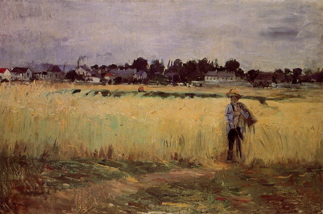 Берта Моризо. Пшеничные поля в Женевилье