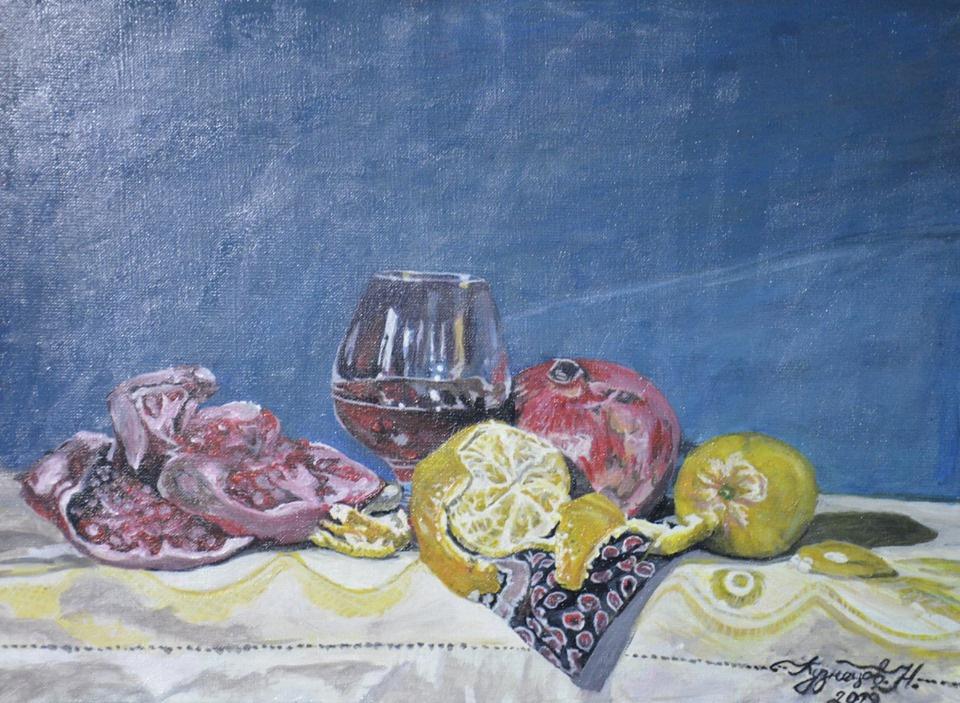 Unknown artist. Pomegranate, glass and mandarin