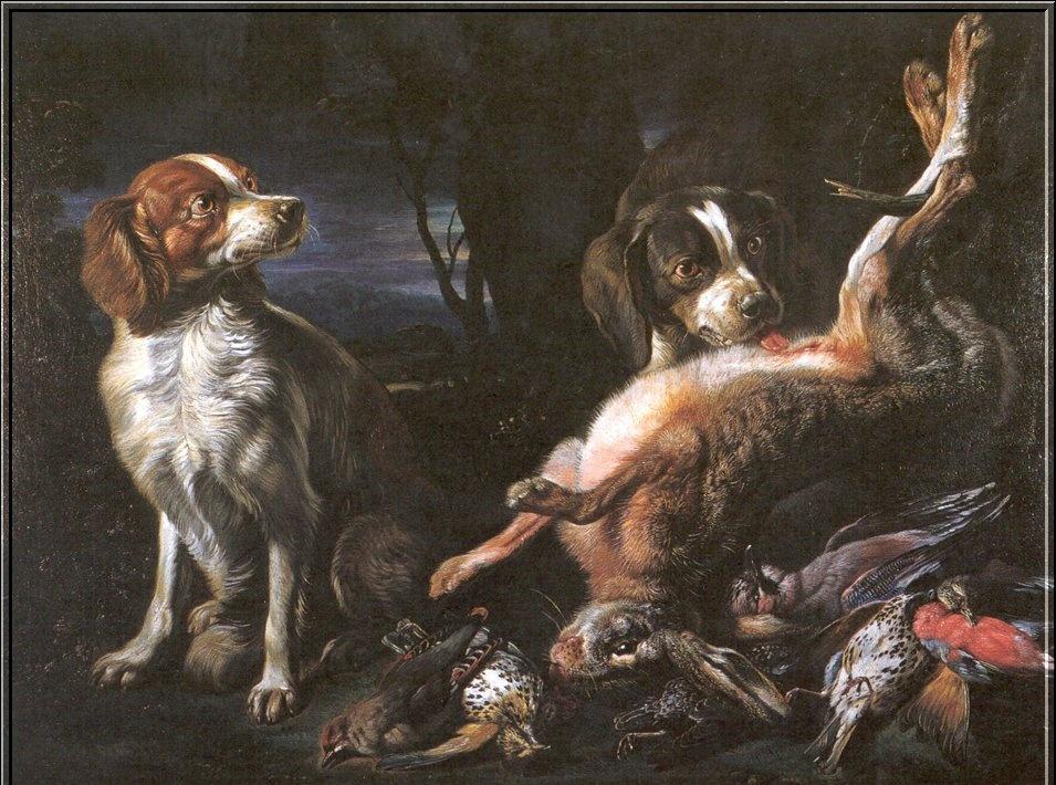 Александр Франсуа Деспортес. Натюрморт с охотничьими собаками