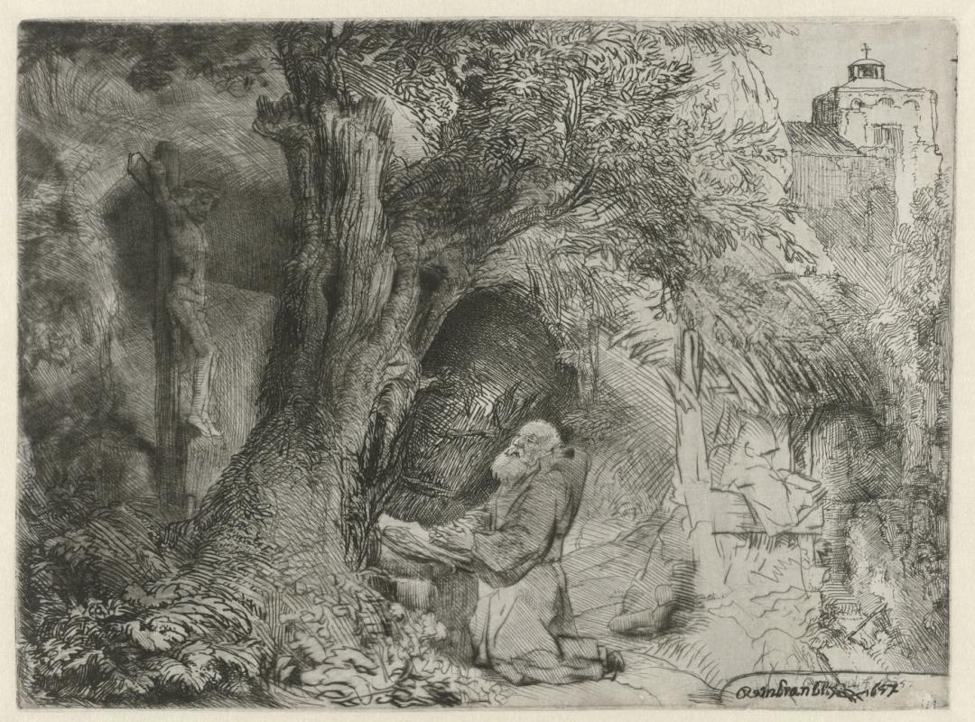 Rembrandt Harmenszoon van Rijn. Saint Francis beneath a tree