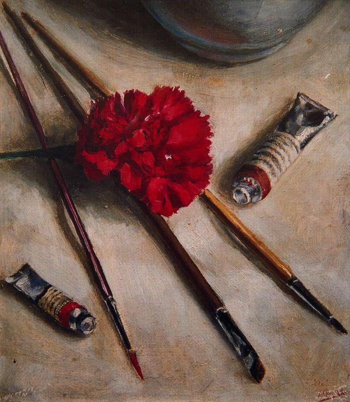 Антонио Медаль. Натюрморт с гвоздикой и рисовальными принадлежностями