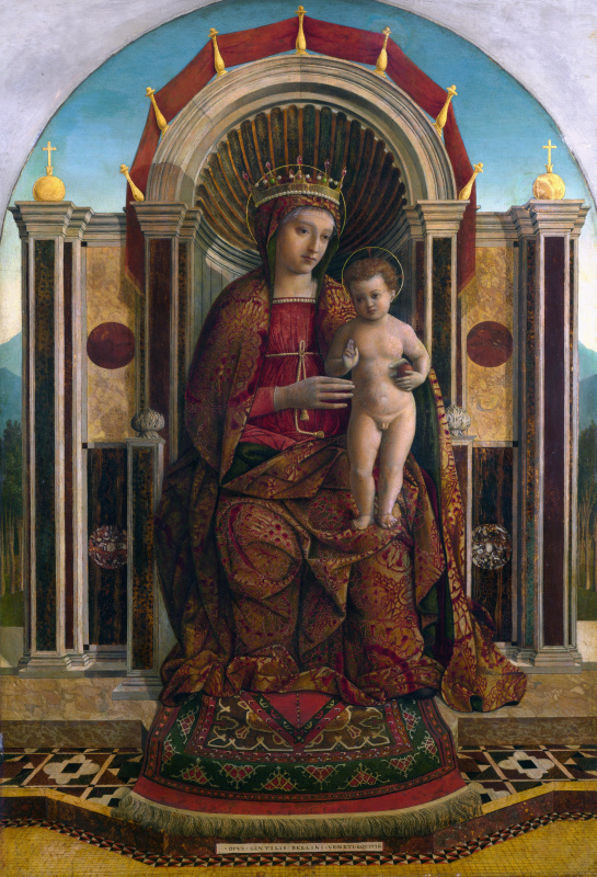 Gentile Bellini. Virgin with the baby on the throne