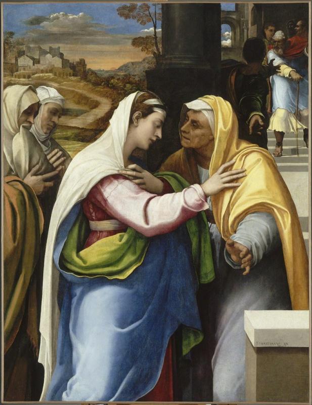 Себастьяно дель Пьомбо. Встреча Марии и Елизаветы (Посещение Марии)