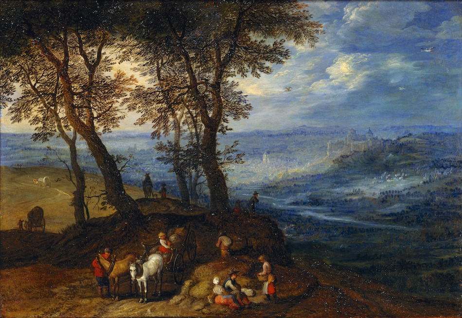 Peter Brueghel the Younger. Landscape with peasants going to market