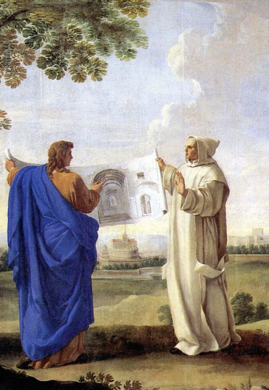 Святой Бруно, изучающий рисунок с термами Диоклетиана