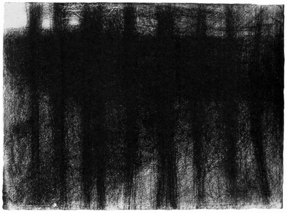 Жорж Сёра. Стволы деревьев, отраженные в воде