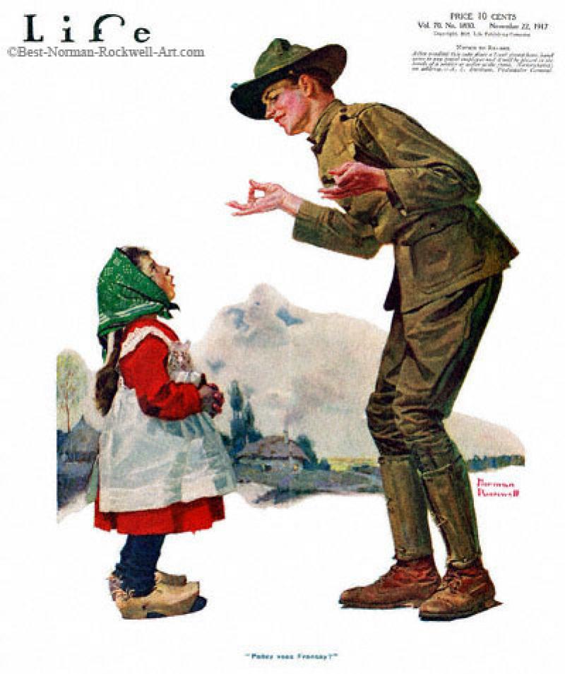 Норман Роквелл. Девочка говорит с солдатом