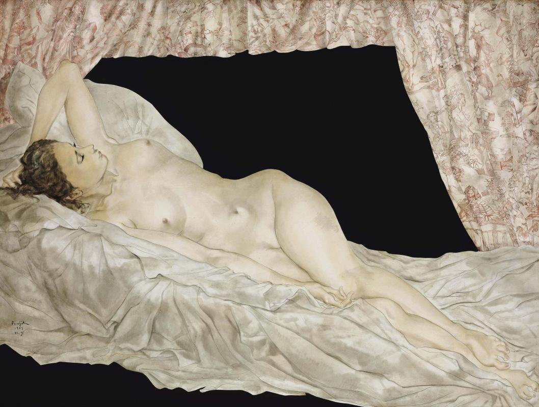 Цугухару Фудзита ( Леонар Фужита ). Reclining Nude with Toile de Jouy