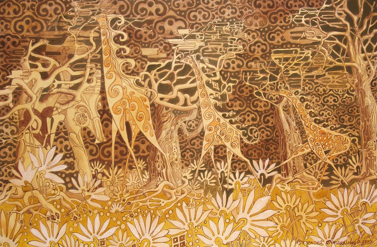 "Алексей Петрович Акиндинов. ""Family of giraffes"", right side of the triptych ""Savannah"""