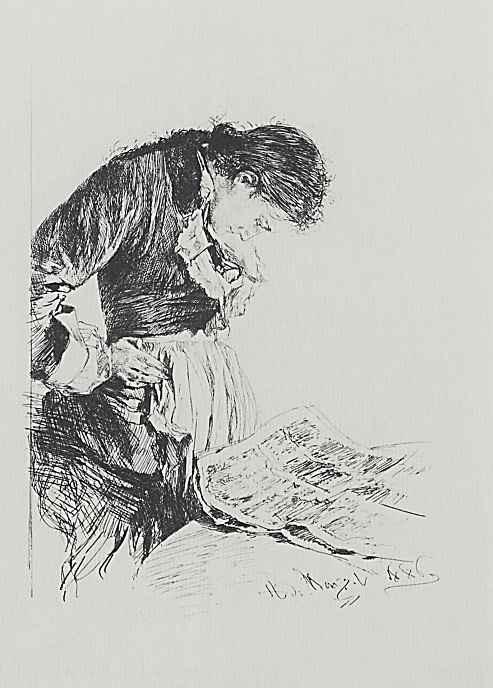 Адольф фон Менцель. Читательница газет