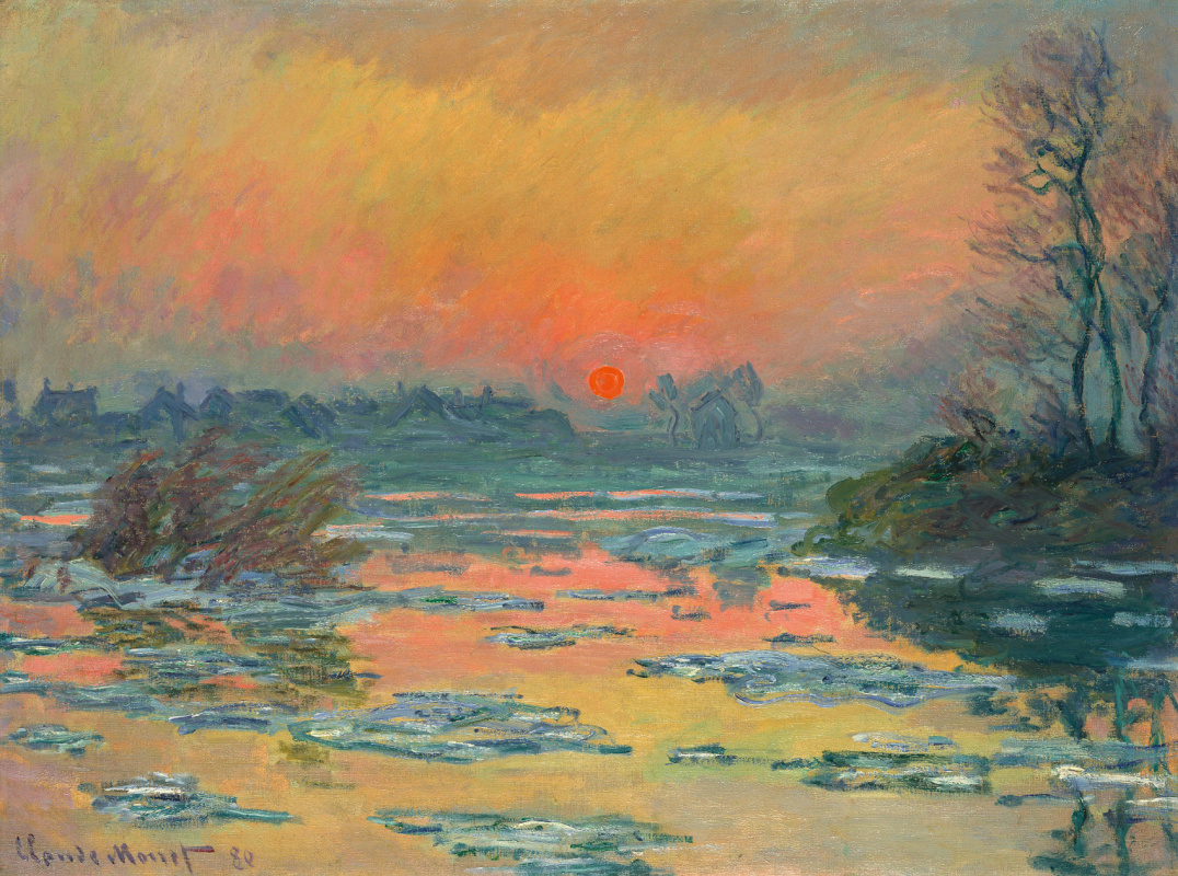 Claude Monet. Sunset on the Seine in winter