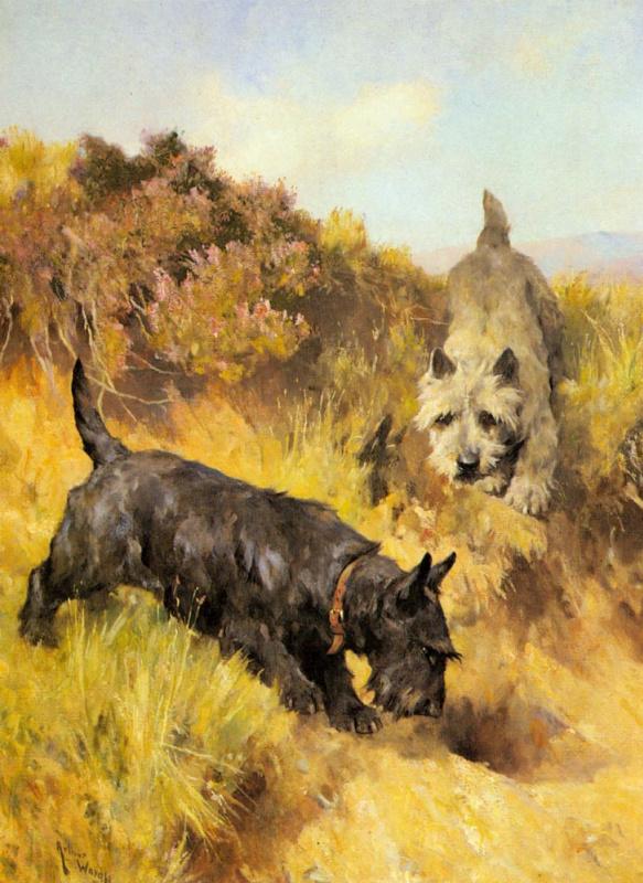 Артур Уордл. Осенний пейзаж с двумя собаками