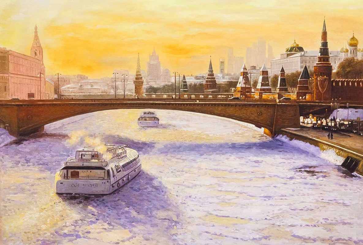 Savely Kamsky. View from the Soaring Bridge to the Moscow River