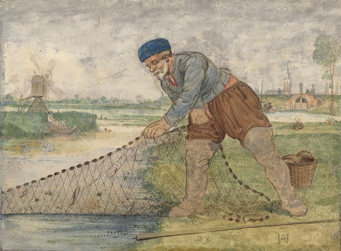 Hendrik Avercamp. Fisherman pulling his net