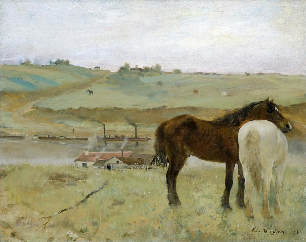 Эдгар Дега. Лошади на лугу