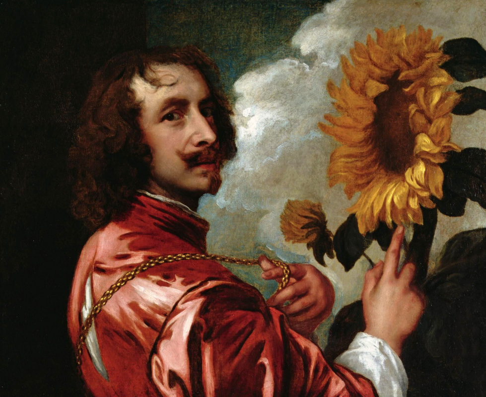 Anthony van Dyck. Self portrait with sunflower