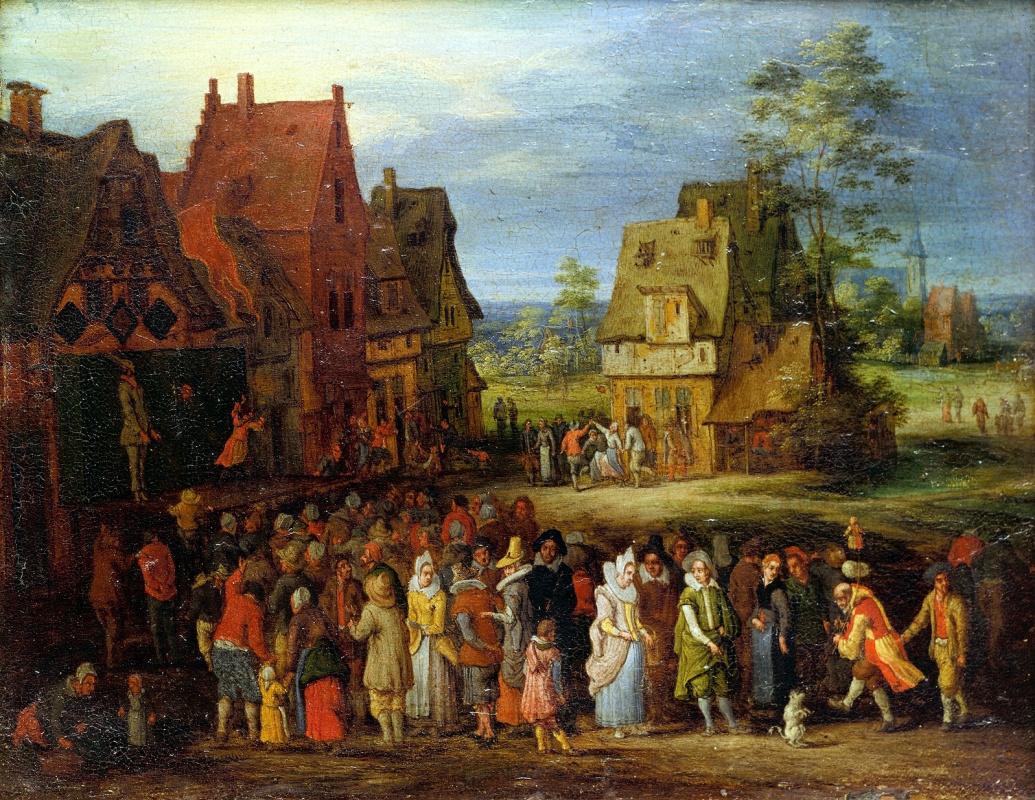 Jan Bruegel The Elder. Village scene with street theater.