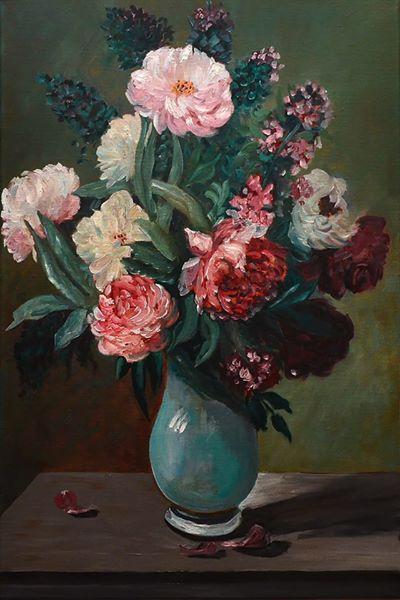 Lyudmila Fedorovna Andreeva. Flowers in the blue vase
