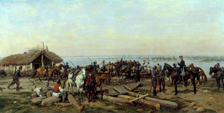 Павел Осипович Ковалевский. Переправа через Дунай