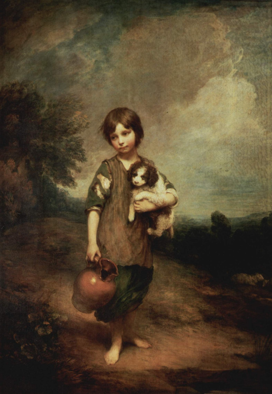 Thomas Gainsborough. Peasant girl with dog and pitcher