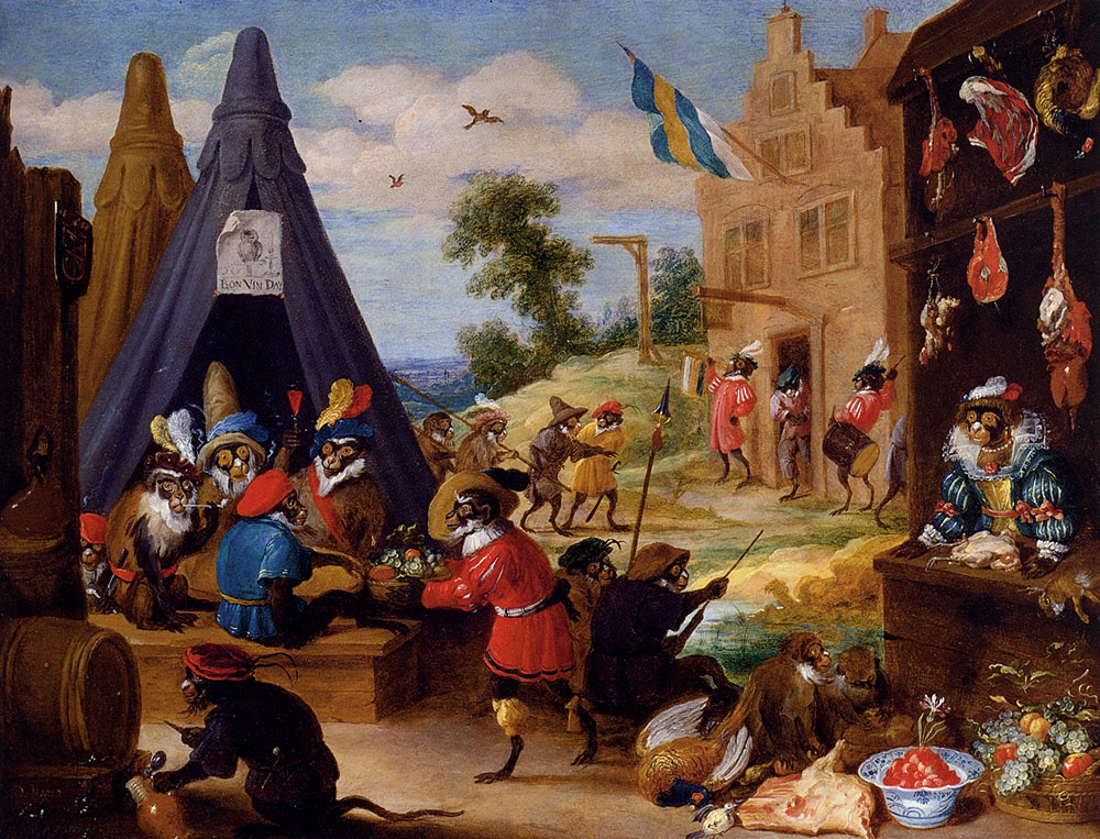 David Teniers the Younger. Fun at the monkey camp